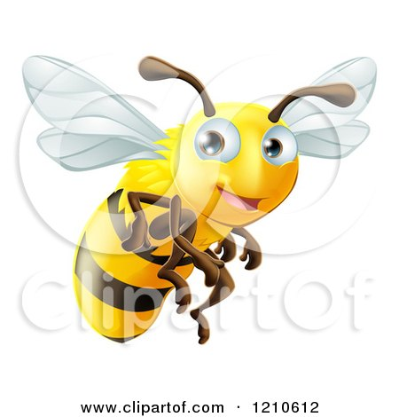 Cartoon of a Cute Happy Bee Mascot Flying - Royalty Free Vector Clipart by AtStockIllustration