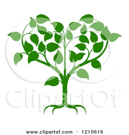 Clipart of a Green Tree Forming a Heart - Royalty Free Vector Illustration by AtStockIllustration