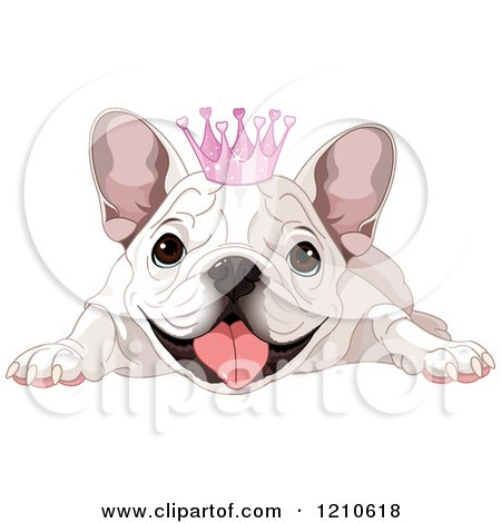 Cartoon of a Spoiled White Bulldog with a Princess Crown - Royalty Free Vector Clipart by Pushkin