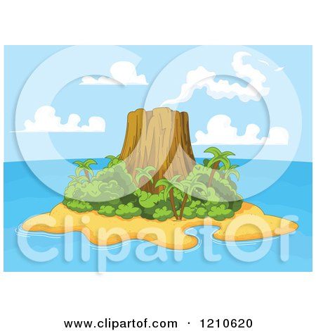 Clipart of a Tropical Volcanic Island - Royalty Free Vector Illustration by Pushkin