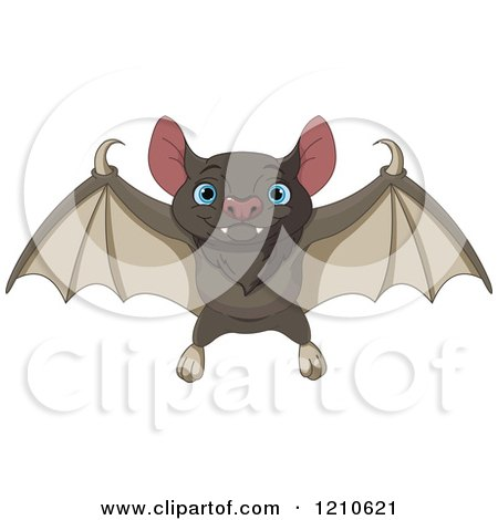 Cartoon of a Cute Flying Bat with Blue Eyes - Royalty Free Vector Clipart by Pushkin