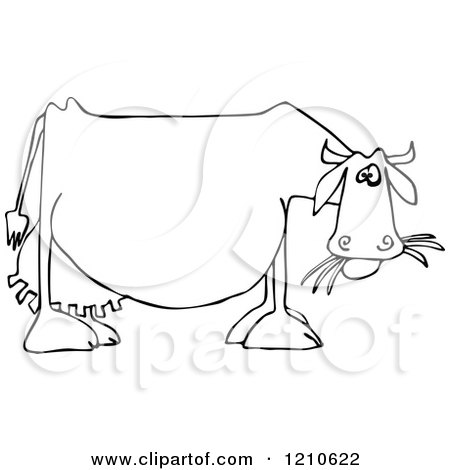Cartoon Of An Outlined Dairy Cow Eating Grass