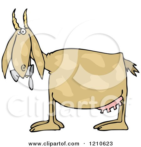Cartoon of a Profiled Goat Eating Cans - Royalty Free Vector Clipart by djart