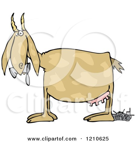 Cartoon of a Profiled Goat Eating and Pooping Cans - Royalty Free Vector Clipart by djart