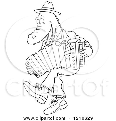 Cartoon Clipart Of An Outlined Alligator Dancing and Playing an Accordion - Royalty Free Vector Illustration by Alex Bannykh