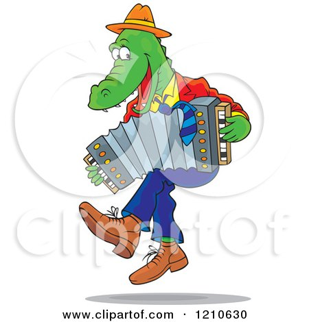 Cartoon Clipart Of An Alligator Dancing and Playing an Accordion - Royalty Free Vector Illustration by Alex Bannykh
