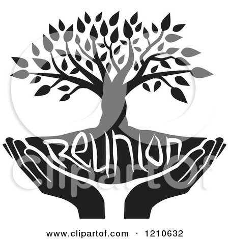Clipart of a Black and White Family Reunion Tree and Uplifted Hands - Royalty Free Vector Illustration by Johnny Sajem
