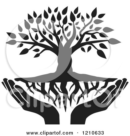 1210633 Clipart Of A Black And White Tree With Roots And Uplifted Hands Royalty Free Vector Illustration
