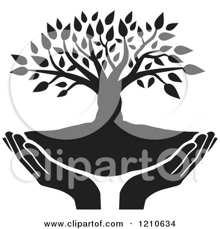 Clipart of a Black and White Tree and Uplifted Hands - Royalty Free Vector Illustration by Johnny Sajem
