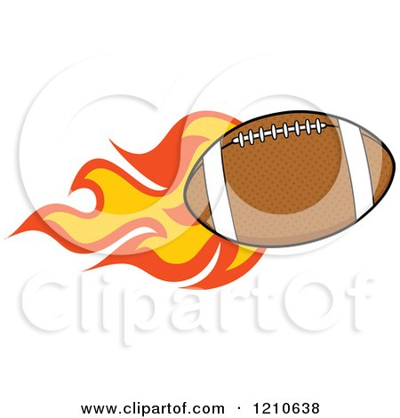 Cartoon of a Flaming American Football - Royalty Free Vector Clipart by Hit Toon