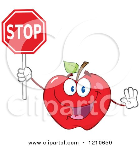 Cartoon of a Red Apple Mascot Holding a Stop Sign - Royalty Free Vector Clipart by Hit Toon