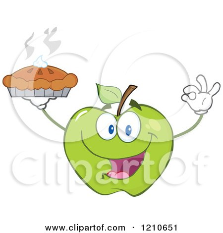 Cartoon of a Green Apple Mascot Holding a Fresh Hot Pie - Royalty Free Vector Clipart by Hit Toon