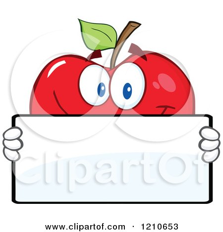 Cartoon of a Red Apple Mascot Holding a Sign 3 - Royalty Free Vector Clipart by Hit Toon
