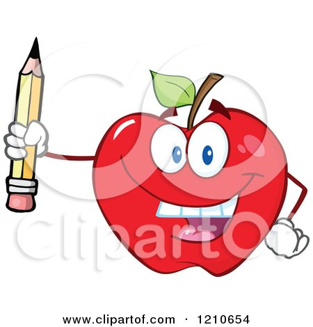 Cartoon of a Red Apple Mascot Holding up a Pencil - Royalty Free Vector Clipart by Hit Toon
