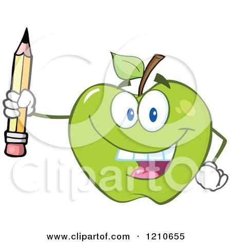 Cartoon of a Green Apple Mascot Holding up a Pencil - Royalty Free Vector Clipart by Hit Toon