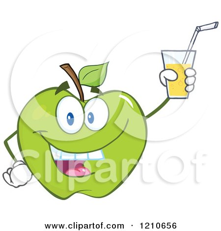 Cartoon of a Green Apple Mascot Holding up Juice - Royalty Free Vector Clipart by Hit Toon