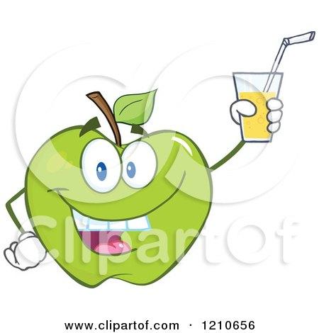 Green Juice Cartoon Cartoon of a Green Apple
