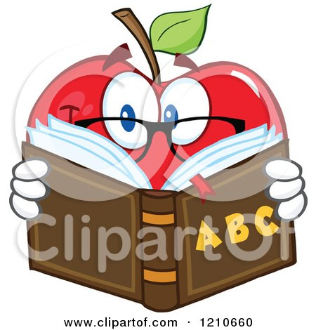Cartoon of a Red Apple Mascot with Glasses, Reading an Alphabet Book - Royalty Free Vector Clipart by Hit Toon