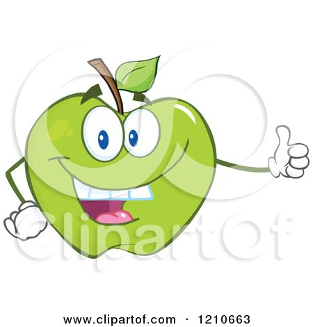 Cartoon of a Green Apple Mascot Holding a Thumb up - Royalty Free Vector Clipart by Hit Toon