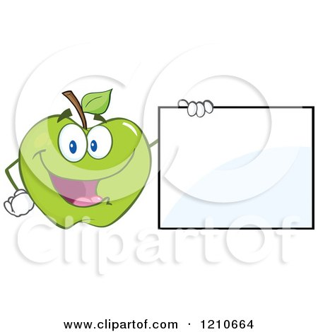 Cartoon of a Green Apple Mascot Holding a Sign - Royalty Free Vector Clipart by Hit Toon