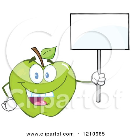Cartoon of a Green Apple Mascot Holding a Sign 2 - Royalty Free Vector Clipart by Hit Toon