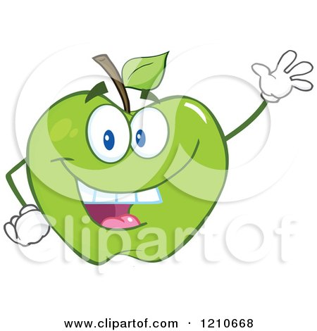 Cartoon of a Green Apple Mascot Waving - Royalty Free Vector Clipart by Hit Toon