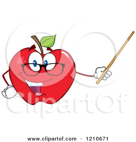 Cartoon of a Red Apple Teacher Mascot Wearing Glasses, Holding a Pointer Stick - Royalty Free Vector Clipart by Hit Toon