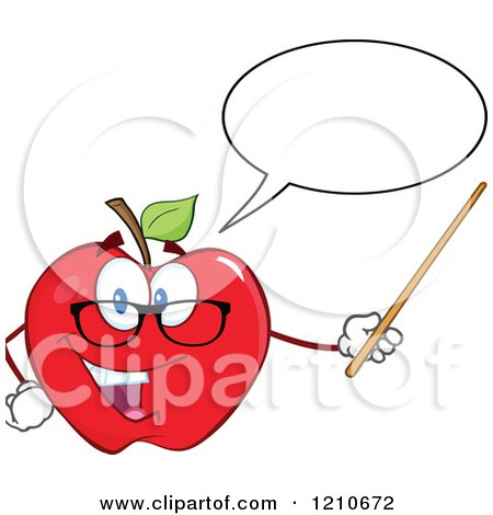 Cartoon of a Talking Red Apple Teacher Mascot Wearing Glasses, Holding a Pointer Stick - Royalty Free Vector Clipart by Hit Toon