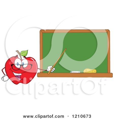 Cartoon of a Red Apple Teacher Mascot Wearing Glasses, Holding a Pointer Stick to a Chalk Board - Royalty Free Vector Clipart by Hit Toon