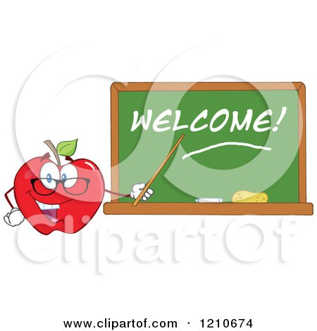 Cartoon of a Red Apple Teacher Mascot Wearing Glasses, Holding a Pointer Stick to a Welcome Chalk Board - Royalty Free Vector Clipart by Hit Toon