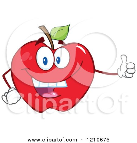 Cartoon of a Red Apple Mascot Holding a Thumb up - Royalty Free Vector Clipart by Hit Toon