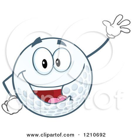 Cartoon of a Friendly Waving Golf Ball Mascot - Royalty Free Vector Clipart by Hit Toon