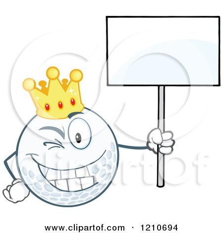 Cartoon of a Happy Crowned Golf Ball Mascot Holding a Sign - Royalty Free Vector Clipart by Hit Toon