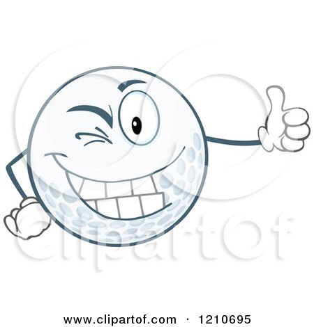 Cartoon of a Happy Golf Ball Mascot Winking and Holding a Thumb up - Royalty Free Vector Clipart by Hit Toon