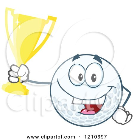 Cartoon of a Happy Golf Ball Mascot Holding a Gold Trophy Cup - Royalty Free Vector Clipart by Hit Toon