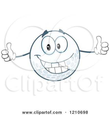 Cartoon of a Happy Golf Ball Mascot Holding Two Thumbs up - Royalty Free Vector Clipart by Hit Toon