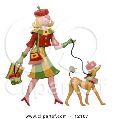Woman and dog dressed alike walking Posters, Art Prints