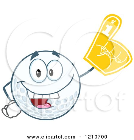Cartoon of a Happy Golf Ball Mascot Wearing a Foam Finger - Royalty Free Vector Clipart by Hit Toon