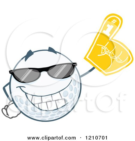 Cartoon of a Cool Golf Ball Mascot Wearing a Foam Finger - Royalty Free Vector Clipart by Hit Toon