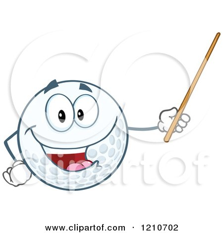 Cartoon of a Happy Golf Ball Mascot Holding a Pointer Stick - Royalty Free Vector Clipart by Hit Toon