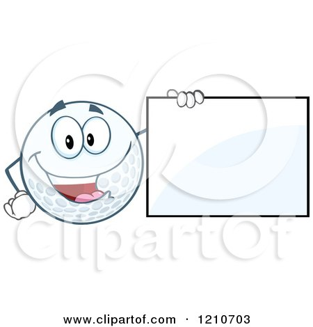 Cartoon of a Happy Golf Ball Mascot with a Sign - Royalty Free Vector Clipart by Hit Toon