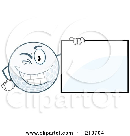 Cartoon of a Winking Golf Ball Mascot with a Sign - Royalty Free Vector Clipart by Hit Toon
