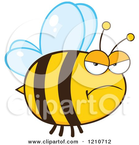 Cartoon of a Mad Bee - Royalty Free Vector Clipart by Hit Toon