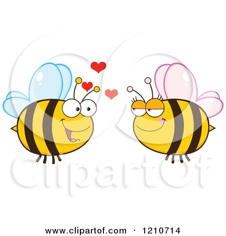 Cartoon of a Happy Bee Couple - Royalty Free Vector Clipart by Hit Toon