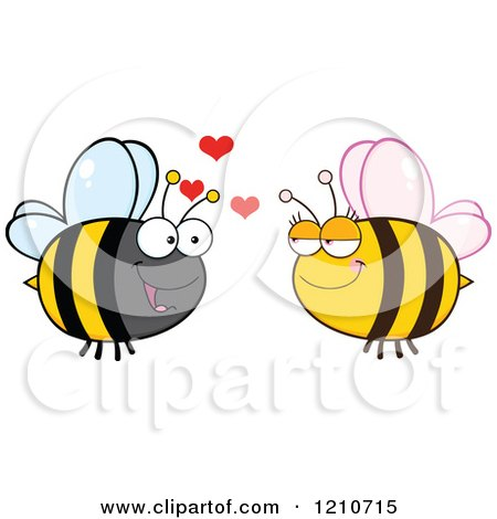 Cartoon of a Happy Bee Couple 2 - Royalty Free Vector Clipart by Hit Toon