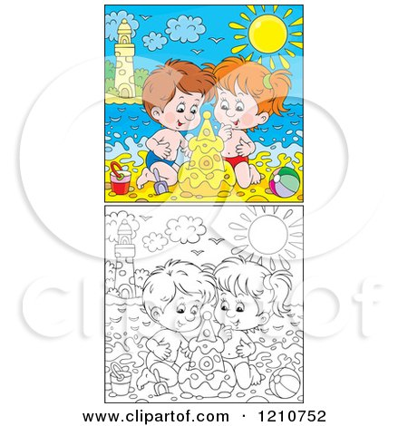 Clipart Of Outlined And Colored Children Building a Sand Castle On A Summer Time Beach - Royalty Free Vector Illustration by Alex Bannykh