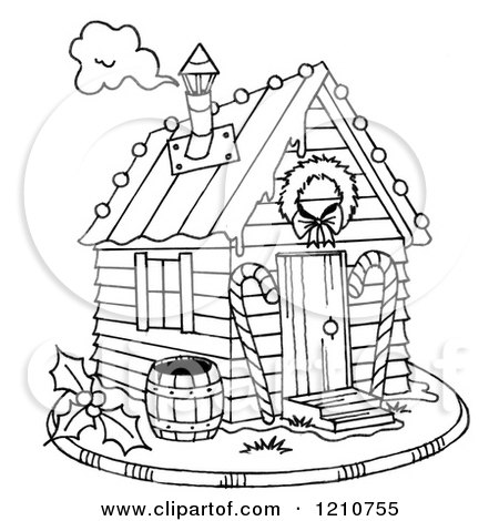 Clipart Of A Sketched Black And White Christmas Gingerbread Shack - Royalty Free Illustration by LoopyLand
