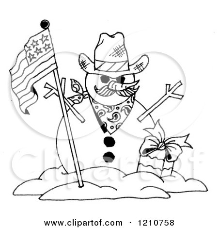 Clipart Of A Sketched Black And White Patriotic Snowman - Royalty Free Illustration by LoopyLand