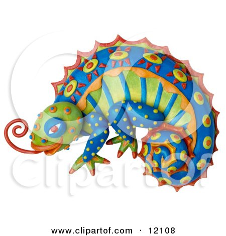 Clay sculpture of a colorful chameleon lizard with bright decorative patterns, sticking out its tongue Posters, Art Prints