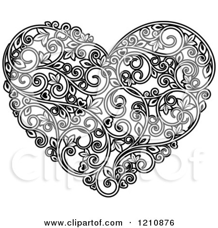 Clipart of a Black and White Vine Floral Heart - Royalty Free Vector Illustration by Vector Tradition SM